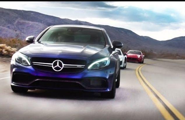 Mercedes c63 amg S против Audi R8 V10 и Ferrari California